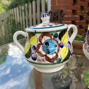Vintage Kitchen - Vintage Mexican pottery sugar and creamer set